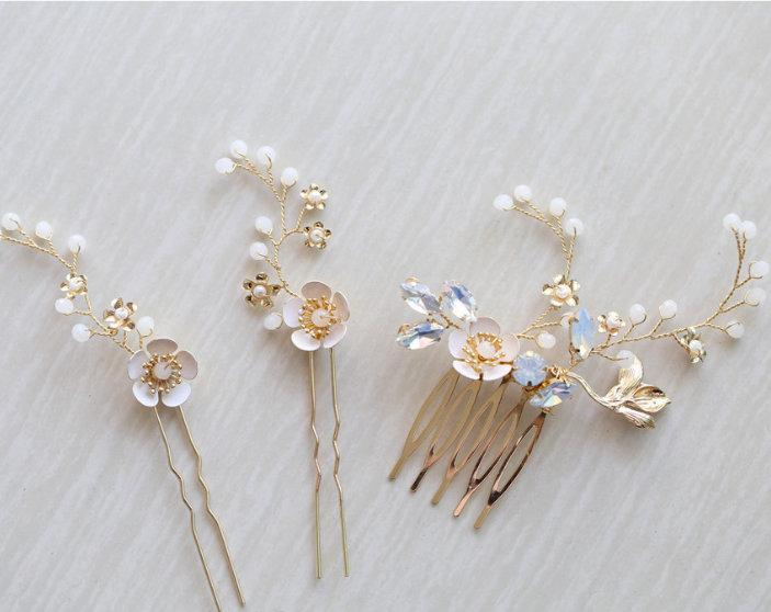 Wedding - Delicate hair comb with pairing hair pin