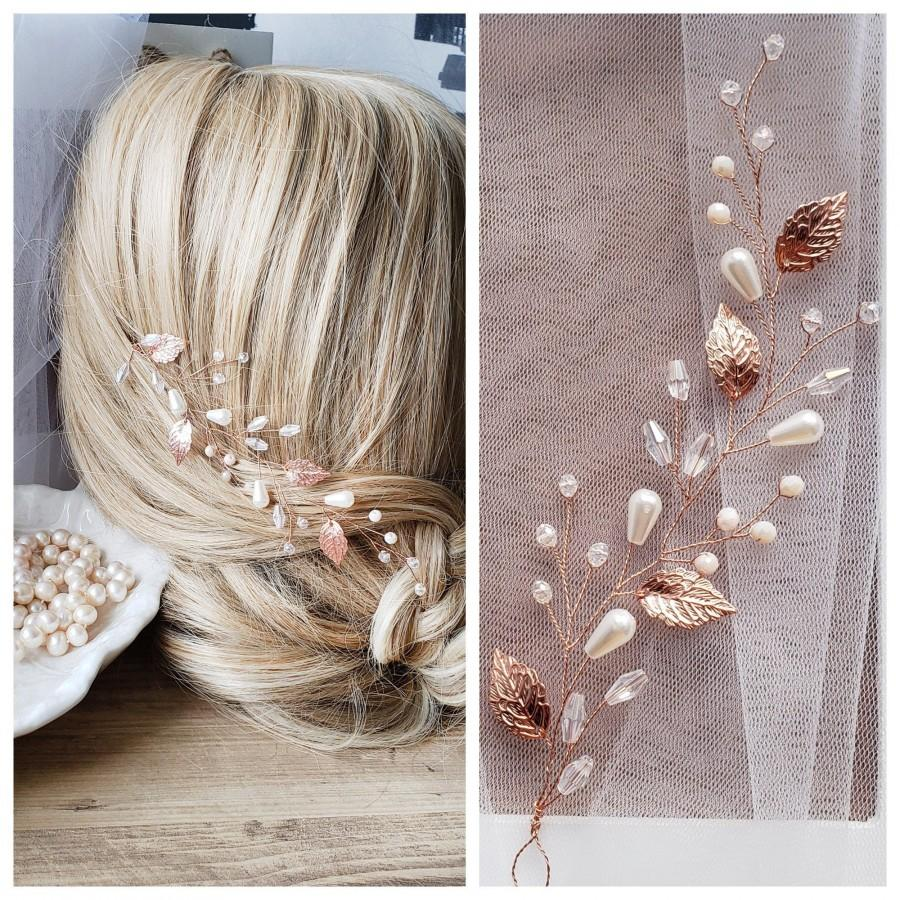 Mariage - Rose Gold hair vine Rose Gold bridal hairpiece Rose Gold leaf comb Rose Gold wedding jewerly Bridal jewerly Rose gold leaf vine