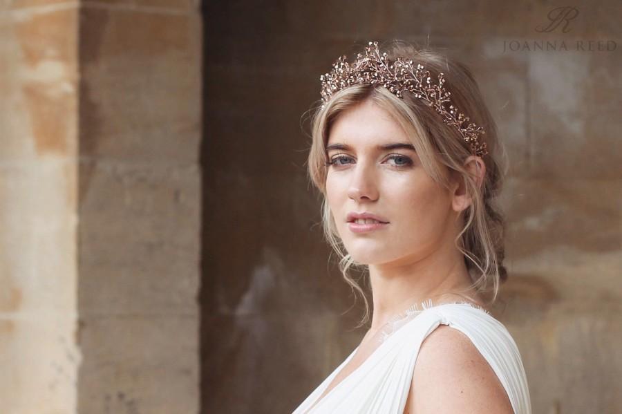 Mariage - Bridal headpiece, rose gold wedding hair accessories, rose gold tiara, rose gold hair vine, bridal headdress, boho bride, boho wedding