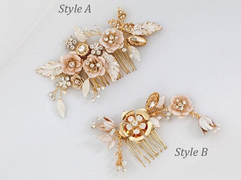 زفاف - Rose gold hair comb