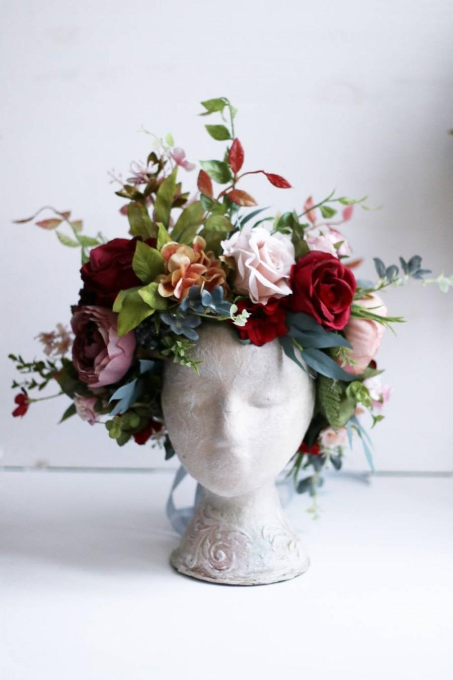 Hochzeit - Burgundy Crown flower wedding peony Woodland queen of the forest crown pink elf ivory boho wedding rust
