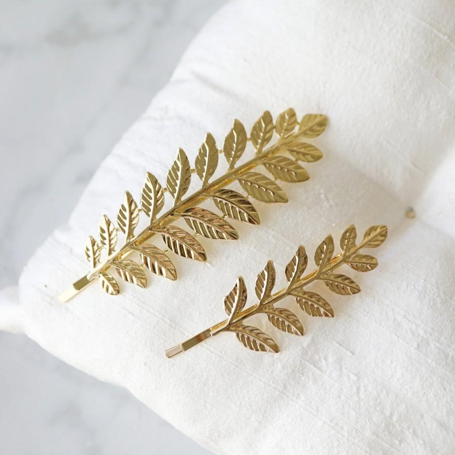 زفاف - Gold Leaf Bobby Pin, Gold Leaves Hair Pin, Set of 2 Vintage Style Gold Bobby Pin, Bridesmaid Gift, Gold Branch Hair Pin -2092