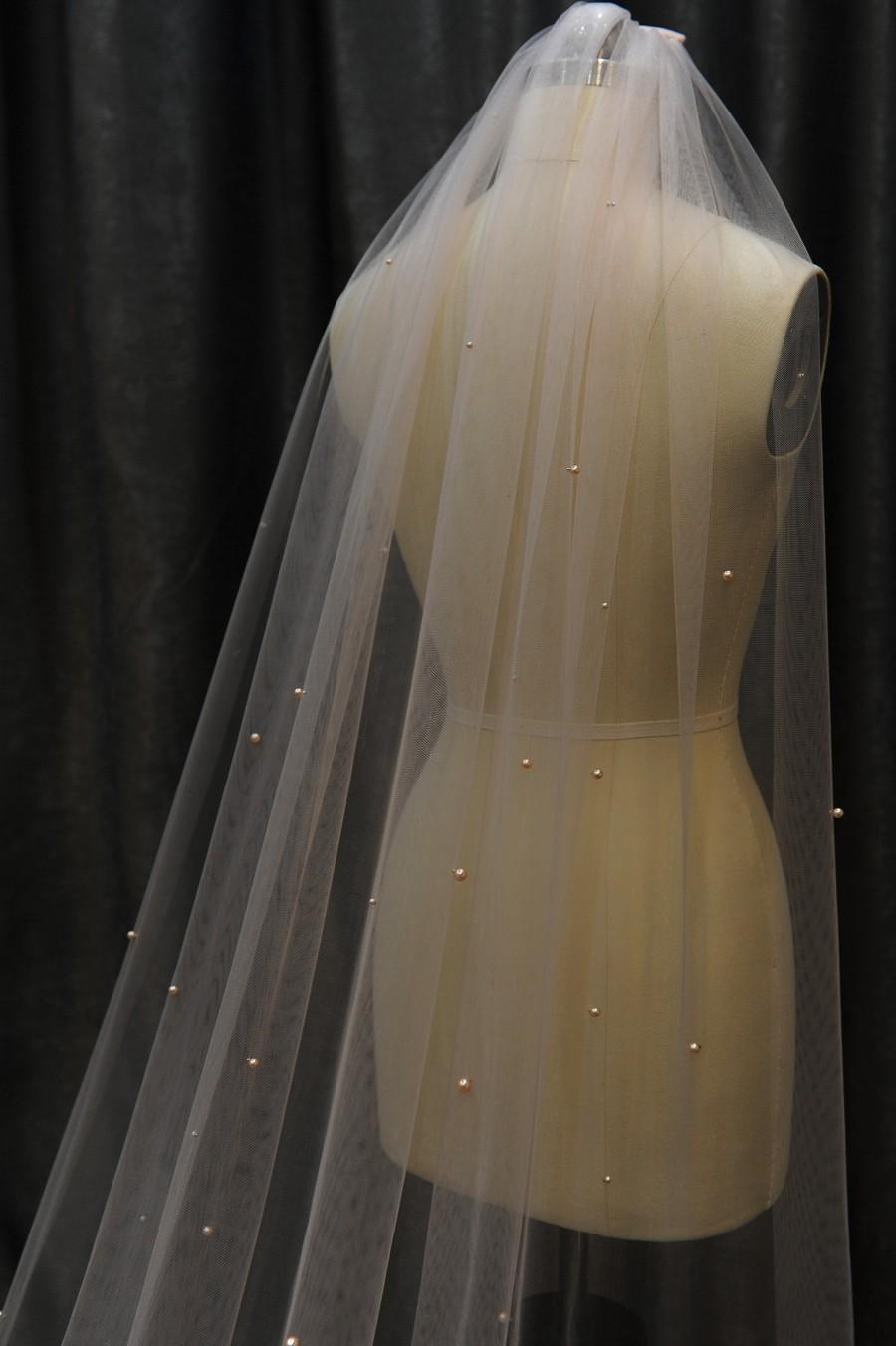 Wedding - LS112/pearl veil/ 1 tier veil / chapel veil/ custom veil