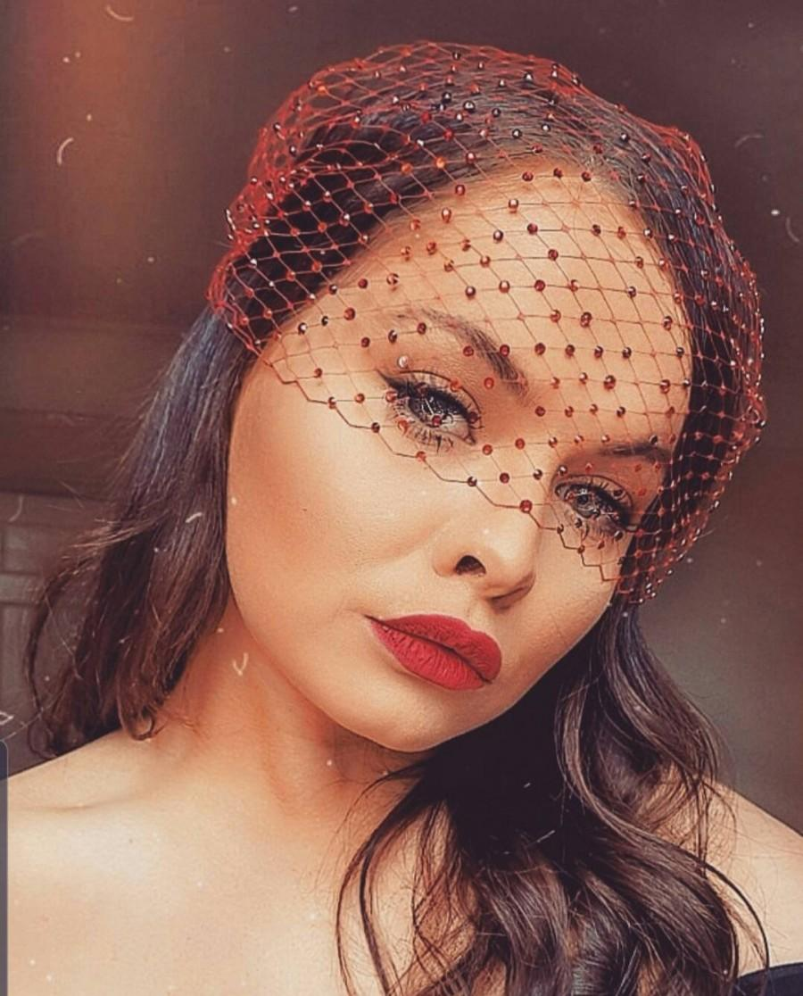 Mariage - Red Net face veil with crystals RED French net fascinator veil,  bridal veil, bachelorette party,masquerade ball or Gatsby costume headpiece