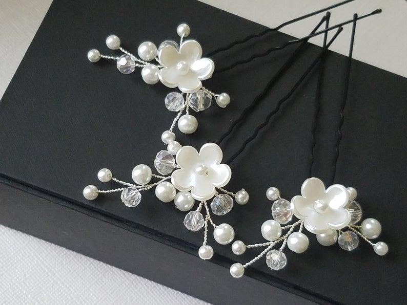 Wedding - Pearl Bridal Hair Pins, White Pearl Hair Pins, Set of 3 Pearl Floral Hair Pins, Wedding Head Pieces, Bridal Hair Pieces, Pearl Hair Jewelry,