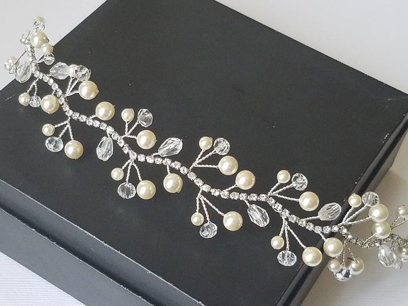 زفاف - Pearl Crystal Bridal Hair Vine, Swarovski Ivory Pearl Crystal Hair Piece, Wedding Pearl Wreath, Bridal Pearl Crystal Headpiece, Hair Jewelry