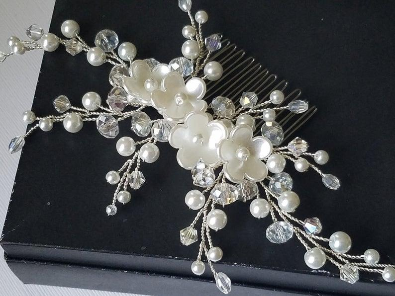 Mariage - Pearl Bridal Hair Comb, Wedding Pearl Crystal Hair Piece, White Pearl Silver Headpiece, Pearl Bridal Hair Jewelry, Pearl Floral Hair Piece