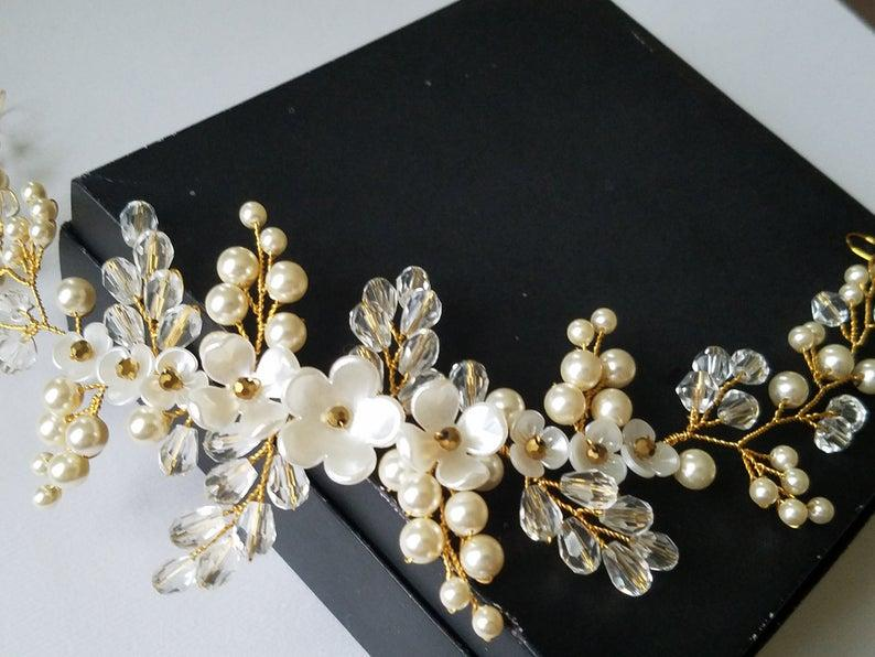 Mariage - Pearl Gold Bridal Hair Vine, Swarovski Ivory Pearl Hair Piece, Wedding Pearl Crystal Headpiece, Bridal Hair Jewelry, Pearl Floral Wreath