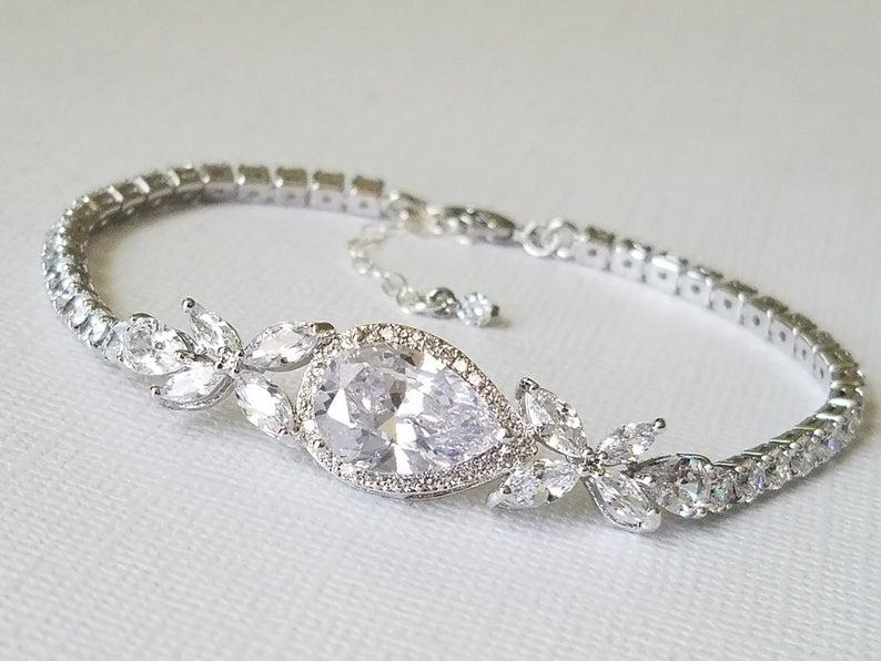 Wedding - Bridal Cubic Zirconia Bracelet, Wedding Crystal Bracelet, Silver Cubic Zirconia Pear Bracelet, Bridal Jewelry, Wedding Sparkly Bracelet