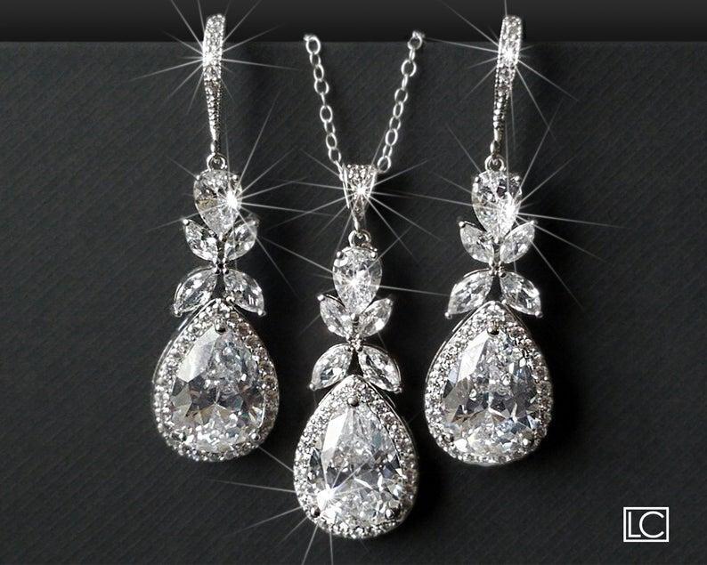 Wedding - Bridal Jewelry Set, Cubic Zirconia Earrings&Necklace Set, Wedding Crystal Jewelry Set, Teardrop Crystal Set, Chandelier Earrings Pendant Set