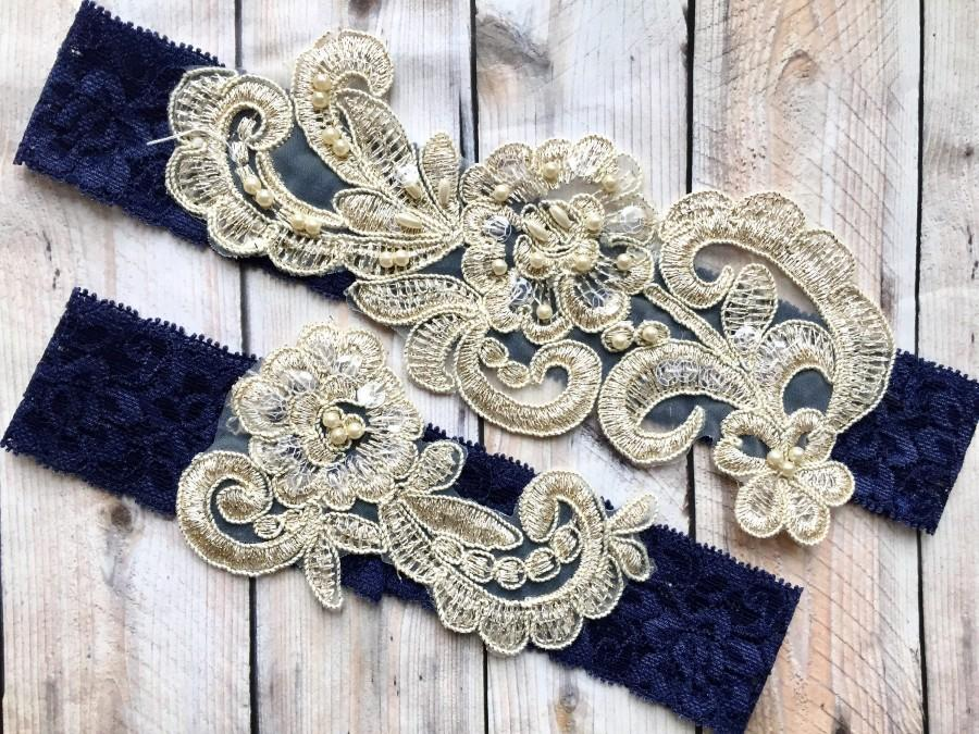 Wedding - Wedding garter navy, navy garter set, navy wedding garter, navy garter belt, navy lace garter, bridal garter navy, wedding garter navy gold