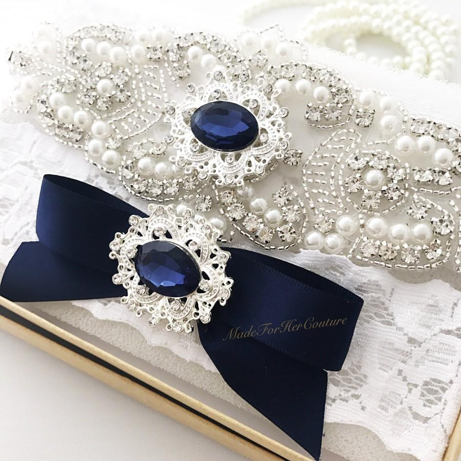 Wedding - garters for wedding, wedding garter, navy garter, blue garter, garter set wedding, bridal garter, wedding garter navy, garter belt,