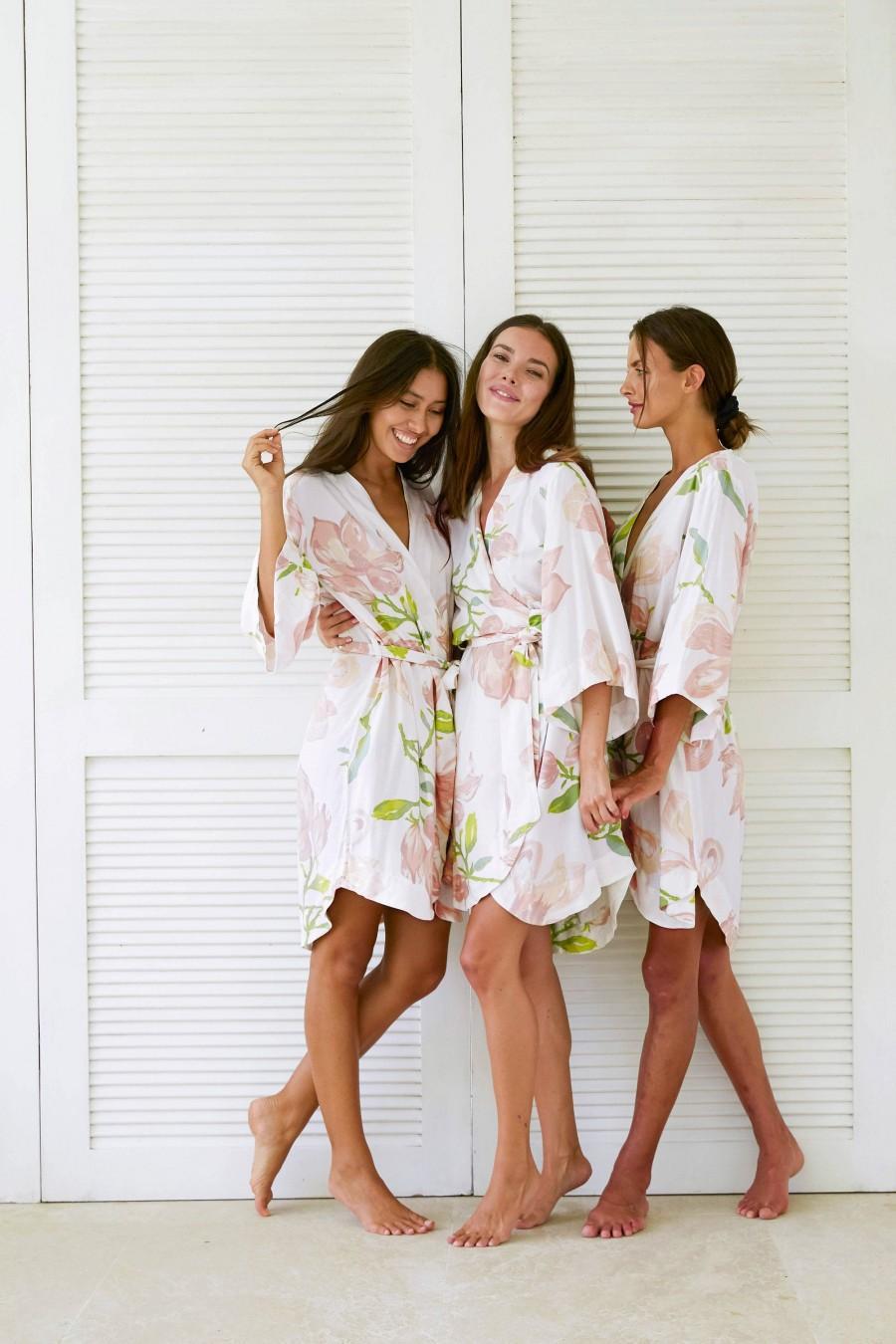 Hochzeit - Bridesmaid Robes, Bespoke Kimono Robe, Magnolia MIST, Code: P053 (B)
