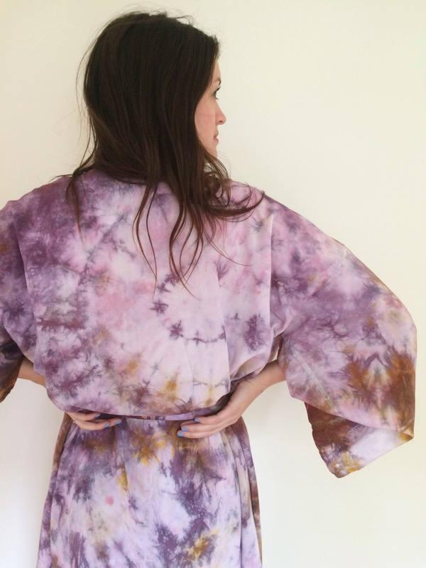 زفاف - Hand Dyed Robe in Super Bloom, Purple and Ocher Tie Dyed Rayon Bathrobe, Anna Joyce, Portland, OR.