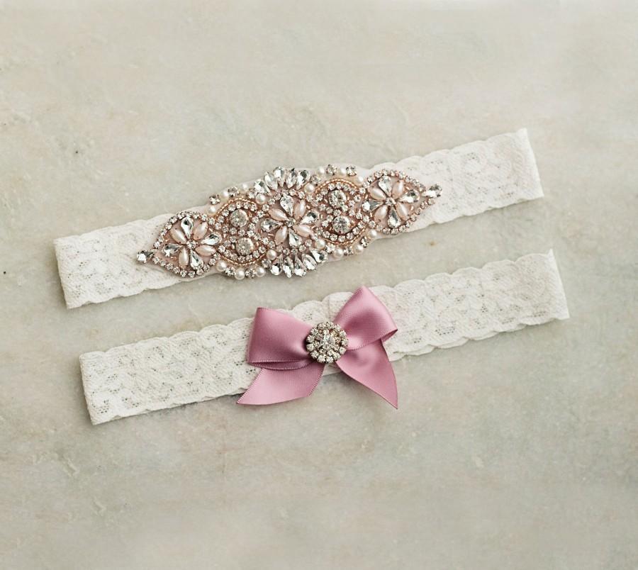 Свадьба - Ivory Lace Mauve Rose Gold Bridal Garter/Belt Set with Crystals & Pearls, Keepsake Toss Rustic Garter Gift for Bride