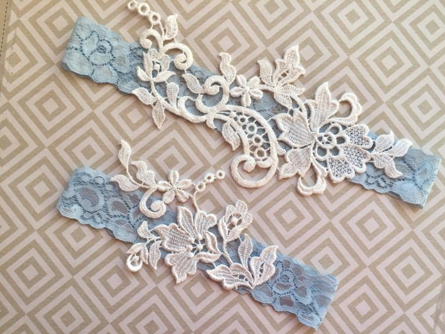 زفاف - Wedding garter blue, wedding garter blue set, Blue wedding garter belt, Blue garter lace, Blue lace garter set, garters for wedding