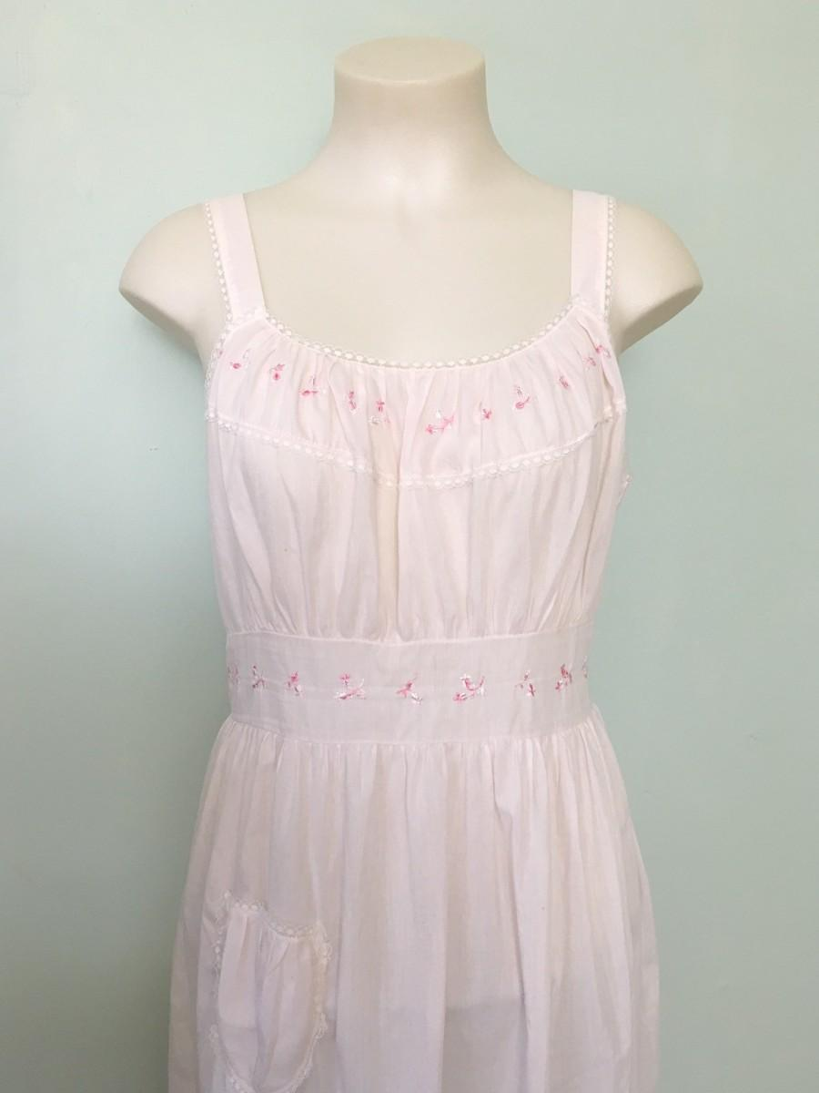 Wedding - Vintage 1950s Nightgown, Pink Nightgown, Sleeveless Nightgown