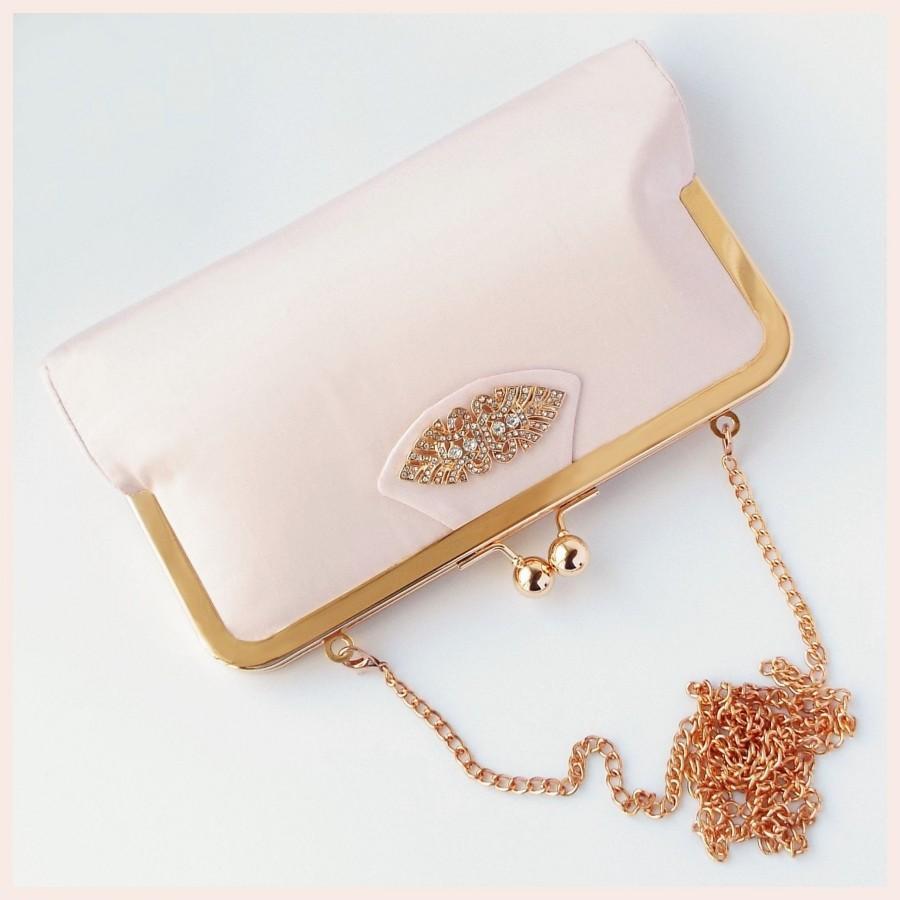 Wedding - wedding clutch, pink bridal purse, evening clutch, silk clutch bag for Art Deco wedding