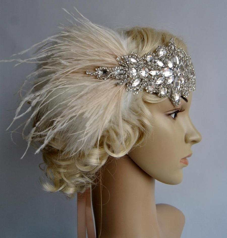 Свадьба - Glamour Rhinestone flapper Gatsby Wedding Crystal Headband Wedding Headpiece, Bridal Headpiece, 1920s Flapper feathers