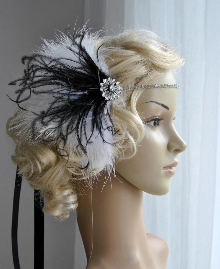 Hochzeit - Crystal Rhinestone Headband Headpiece, 1920s flapper gatsby Headband, Wedding Headband, rhinestone feather Headband White and black