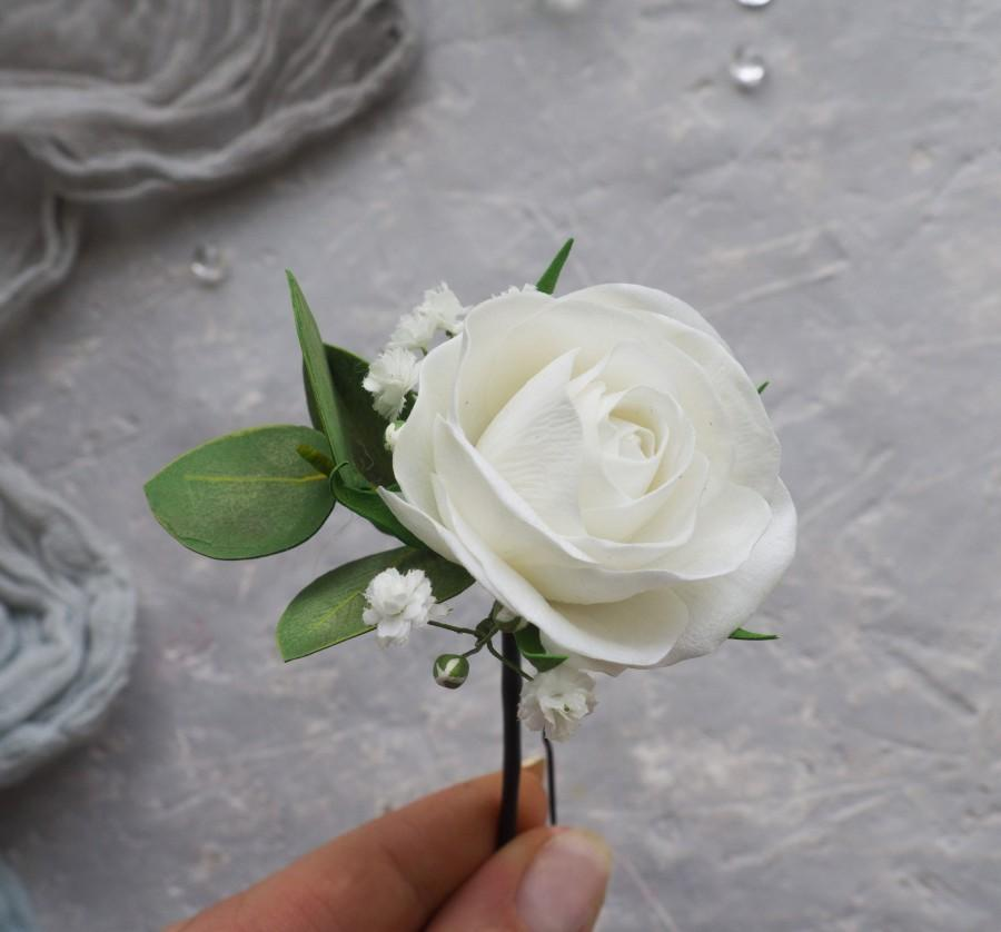 Свадьба - Wedding Rose hair piece Greenery eucalyptus pins