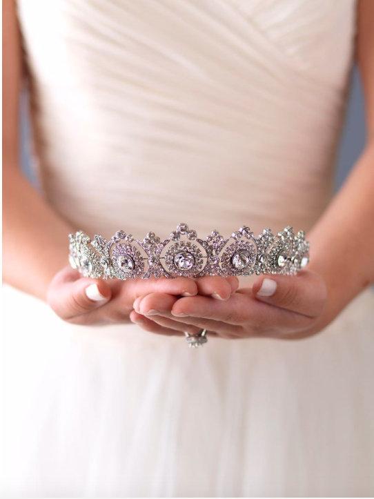 Hochzeit - Silver Wedding Crown, Vintage Bridal Tiara, Swarovski Tiara, Wedding Tiara, Bridal Headpiece, Royal Princess Crown, Silver Hair Accessories