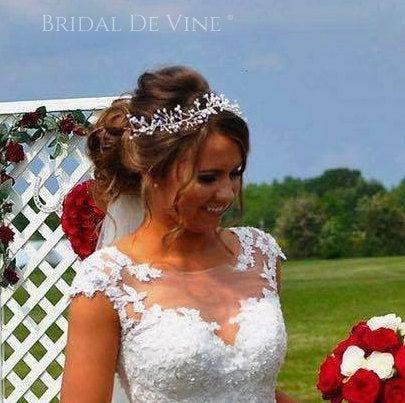 Wedding - Bridal Hair Vine, Bridal Hair Accessory, Bridal Hair Piece with Freshwater Rice Pearls and Crystals