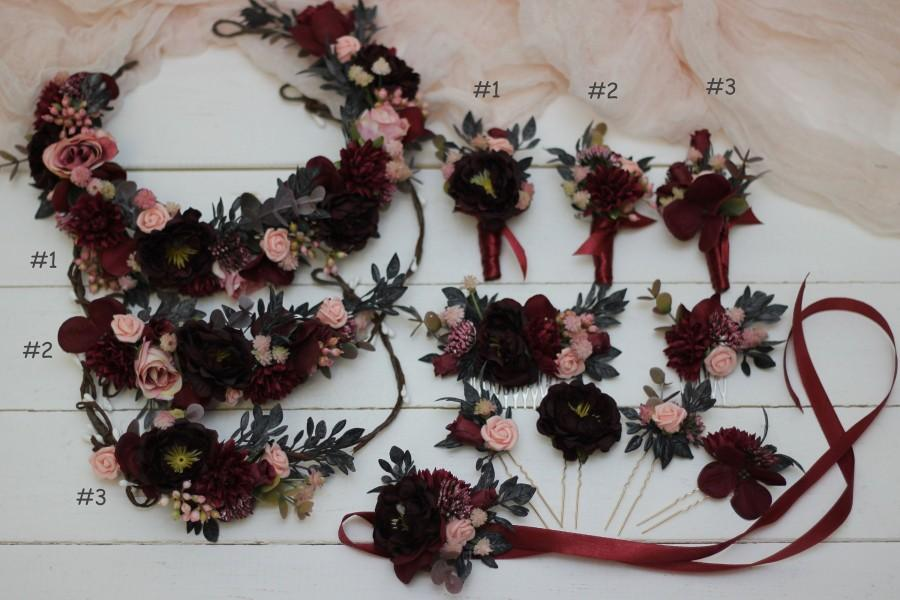 Wedding - Burgundy blush pink flower crown Mommy and me Maroon  headpiece Baby crown Bridal hairpiece Burgundy Flower girl Bridesmaid Hair flowers