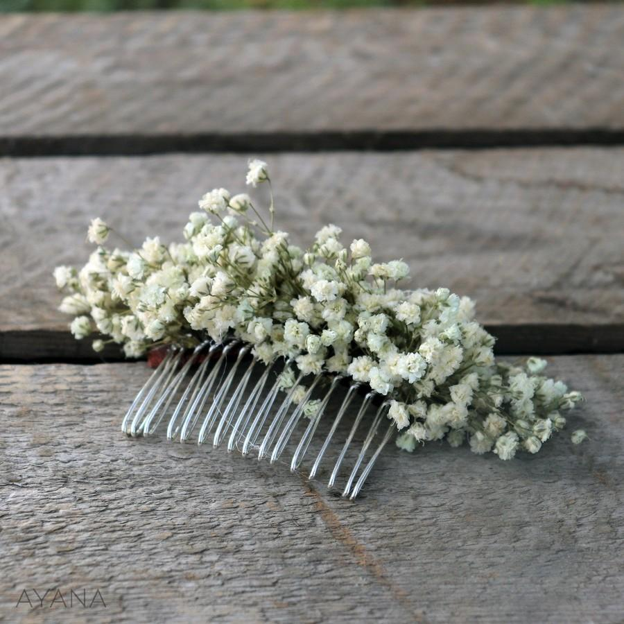 """Свадьба - Flowers comb """"Lucie"""", bohemian hair accessory with durable natural flowers, preserved baby's breath, original hair comb for Boho wedding"""