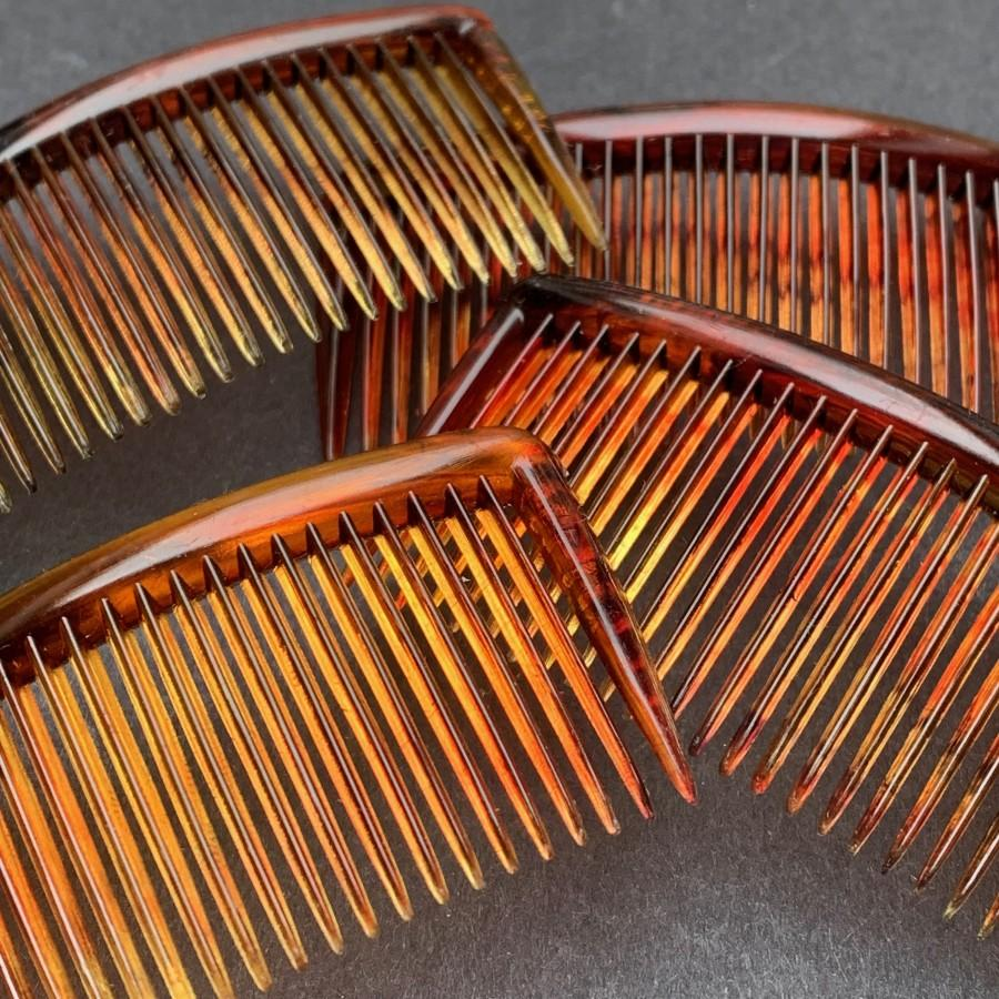 "Wedding - 4 Vintage Hair Combs 2.5""/55mm wide Delicate Tortoiseshell Colour"