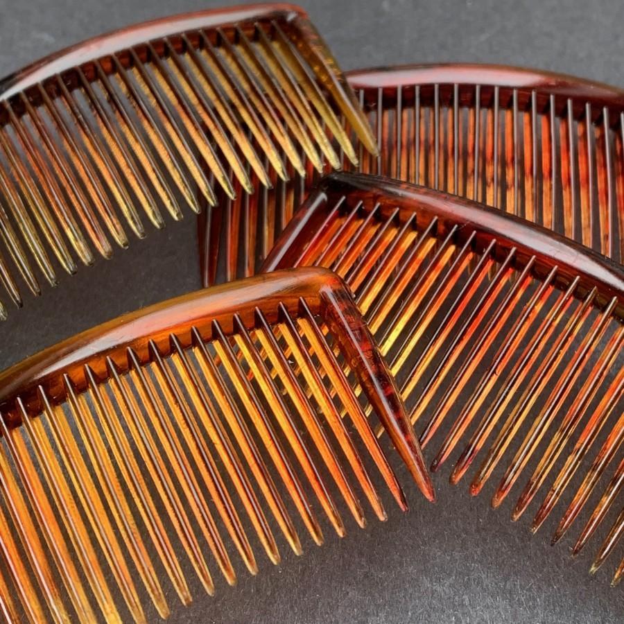 "Свадьба - 4 Vintage Hair Combs 2.5""/55mm wide Delicate Tortoiseshell Colour"