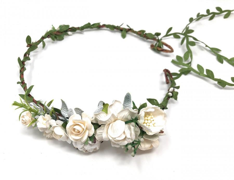 Свадьба - Ivory and white flower crown, wedding flower crown, bridal floral headband, flower headpiece, adult flower crown, flower crown for bride