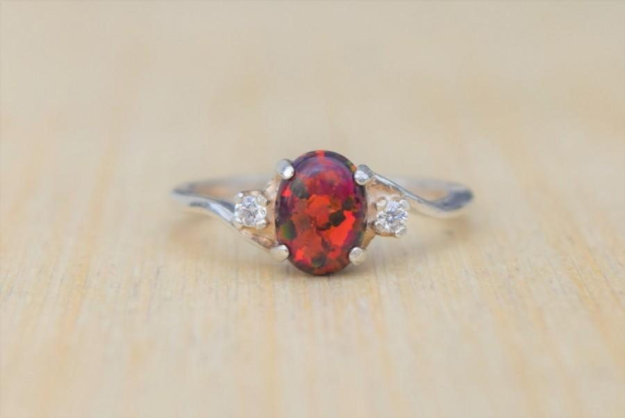 Wedding - Fire Opal Ring, Red Opal Ring, Black Cherry Opal, Opal Ring, Silver Opal Ring, Lab Opal Ring, Birthstone Ring, Promise Ring