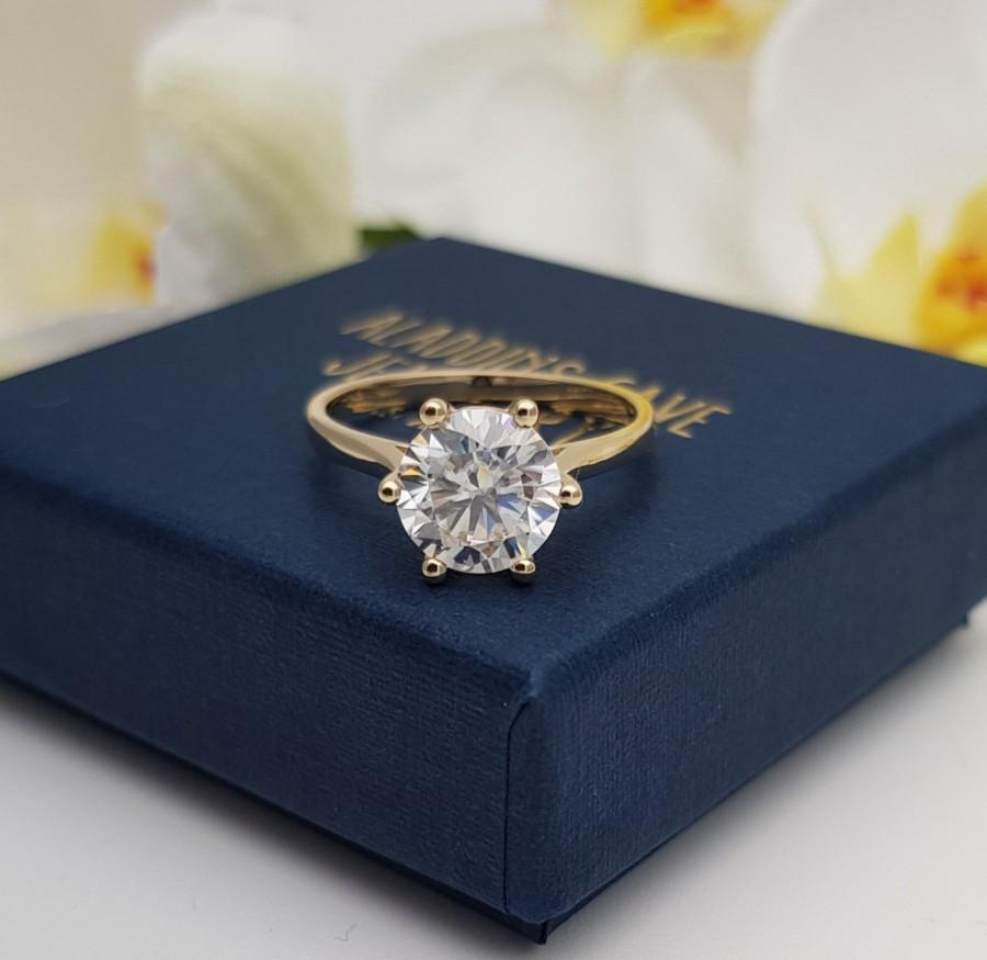 Wedding - 2ct Solid gold Cathedral setting Moissanite solitaire ring available in 10k, 14k, 18k Rose, yellow or white gold - engagement ring