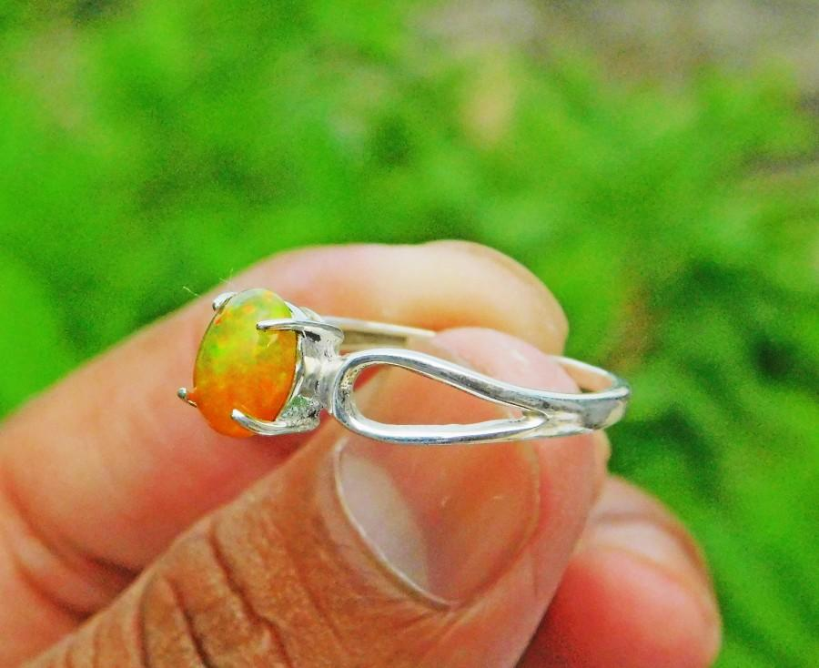 Wedding - Natural Ethiopian Opal Silver Ring, Multi Fire Opal Stone Ring, Opal Ring, Excellent Opal Silver Ring, Boho Silver Ring, Birthstone Ring