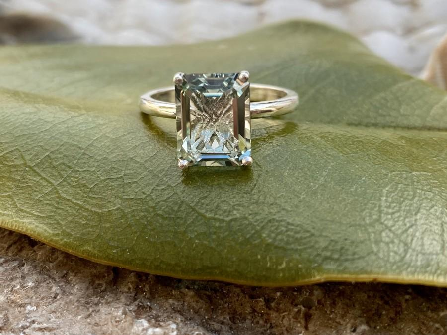 Wedding - Prasiolite Ring, Green Amethyst Ring, Emerald Cut Prasiolite Ring, 2.00ct Emerald Cut, Prasiolite Solitaire Ring