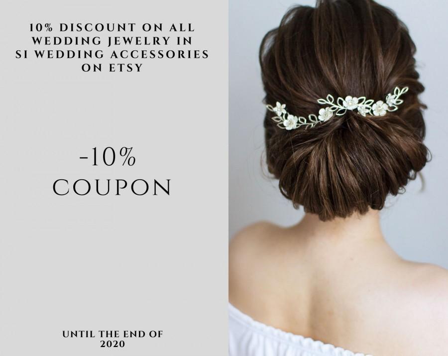Hochzeit - Bridal hair piece pearl flower , bridal headband , wedding hair piece coupon