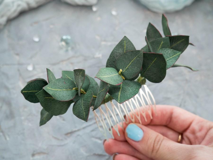 Hochzeit - Bridal eucalyptus hair comb Greenery floral piece