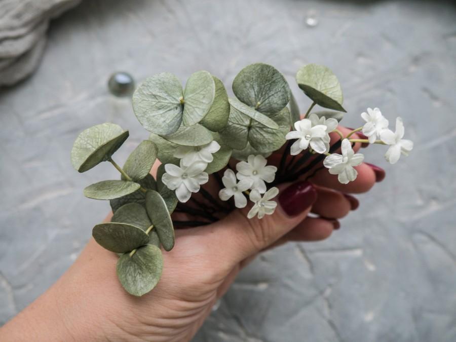 Hochzeit - Wedding eucalyptus leaves hair pins Greenery piece