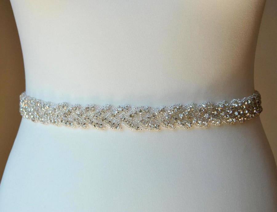 Свадьба - Bridal Belt Sash Rhinestone Belt Sash Flower Girl Bridesmaid Gift Sash belt Crystal Dress Sash Belt