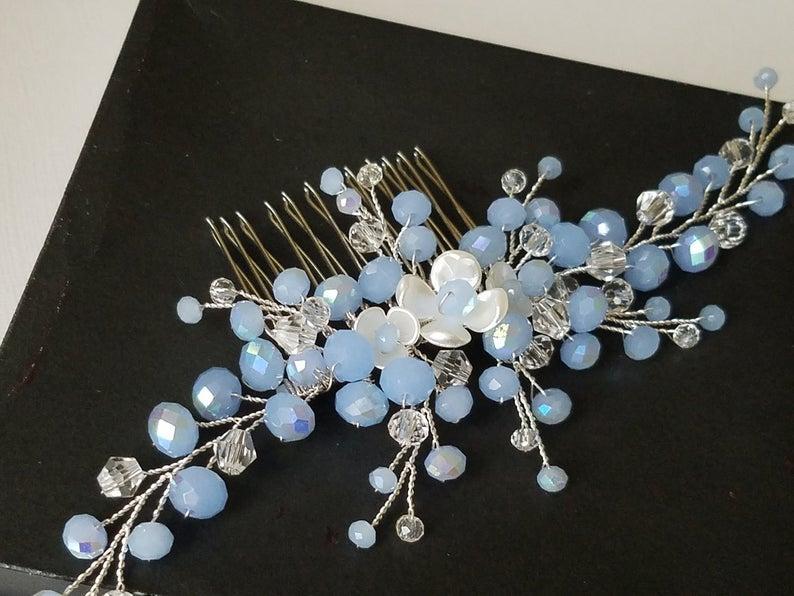 Mariage - Dusty Blue Hair Comb, Bridal Blue Silver Headpiece, Light Blue Hair Piece, Wedding Blue Headpiece, Pastel Blue Hair Jewelry Hair Accessories