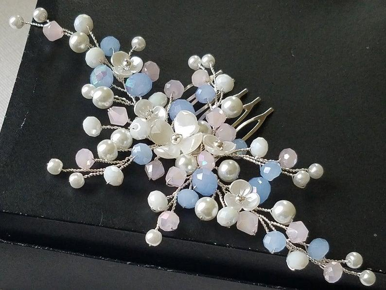 Mariage - Blue Pink Bridal Hair Comb, Wedding Blush Blue Pink Hair Piece, Bridal Pearl Crystal Silver Headpiece, Wedding Light Blue Pink Hair Jewelry