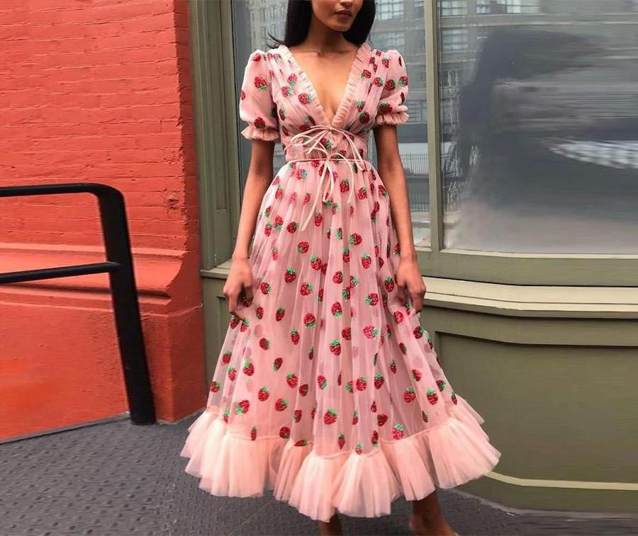 Wedding - Sweet Strawberry Tulle Dress, Sequin Maxi Dress Ruffle Puff Sleeve Bow Pink Mesh Dress