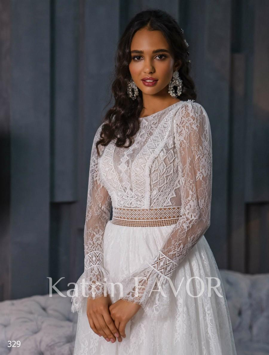 Hochzeit - Long Sleeve Wedding Dress Lace Wedding Dress Bohemian Wedding Dress Backless Wedding Dress Hippie Wedding Dress Boho Wedding Dress A Line