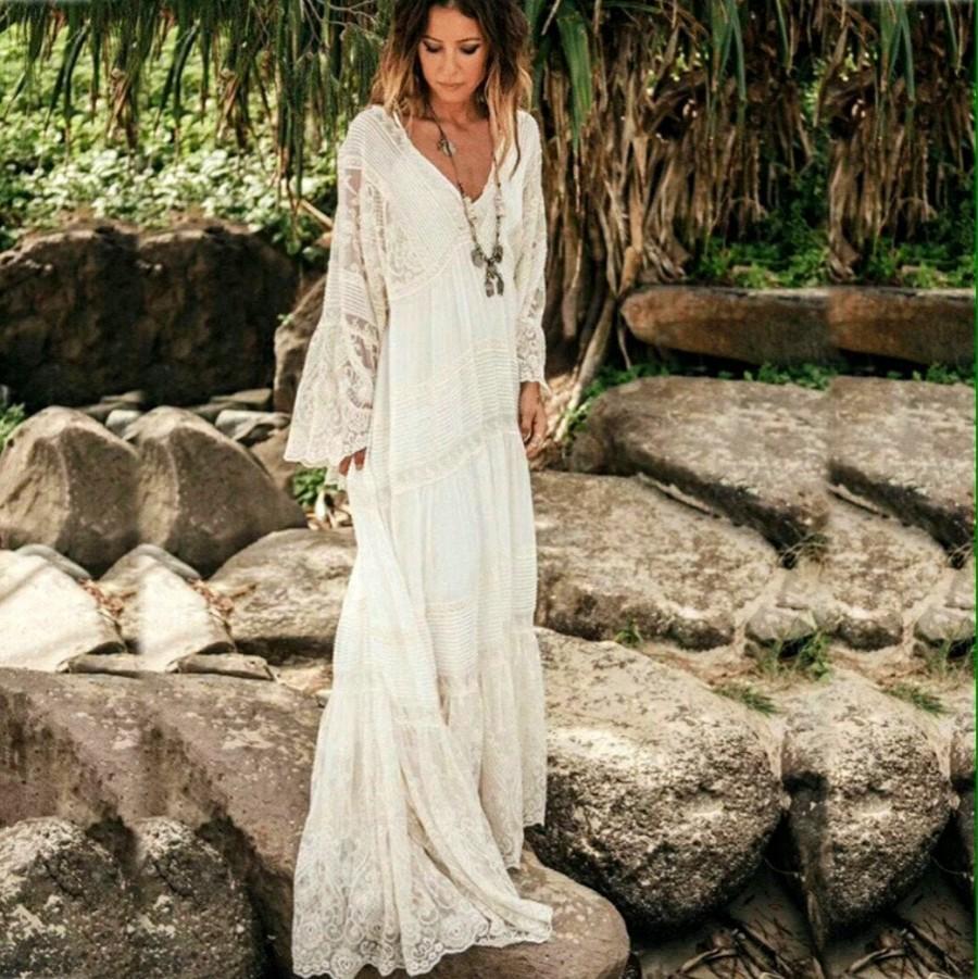 Hochzeit - Boho Dress, Boho Wedding, Lace Dress, Maxi Boho Dress, White Boho Dress, White Dress, Bohemian Wedding Dress, Bohemian Dress, Maxi Dress.