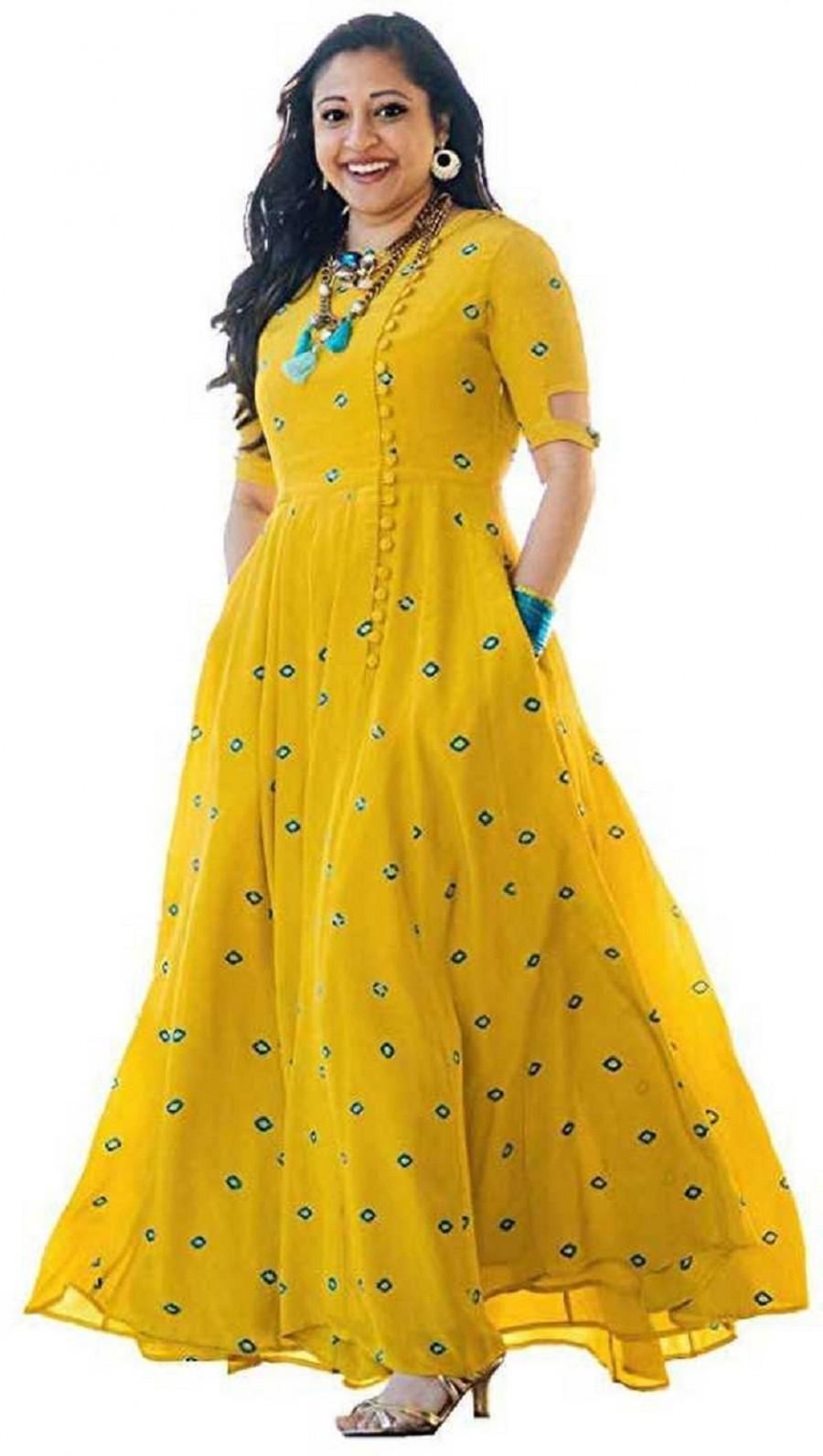 "Hochzeit - Indian Handmade Embroidered Full Mirrror Work Anarkali Rayon Kurti, Yellow Kurtis, Ethnic Kurtis, Pocket Kurtis, ""boho wedding dress"""