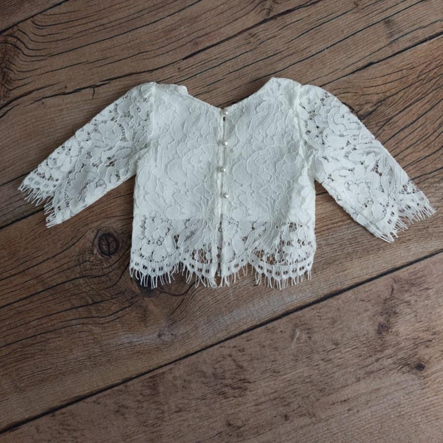 Свадьба - White Lace Flower Girl Top, Two Piece Top Only, Romantic Fringe Lace, Covered Buttons Scalloped Back