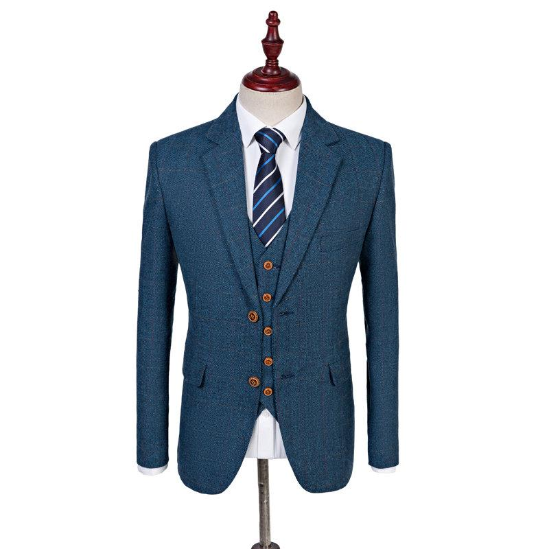 Hochzeit - Light Blue Estate Herringbone Tweed 3 Piece Suit