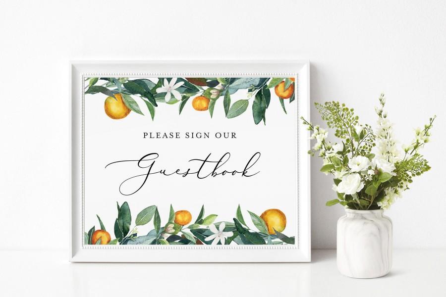 زفاف - Guestbook Sign INSTANT DOWNLOAD, Leave a note for the newly weds, Signage, DIY Printable Wedding Signs, Rustic Invites, oranges INSW001
