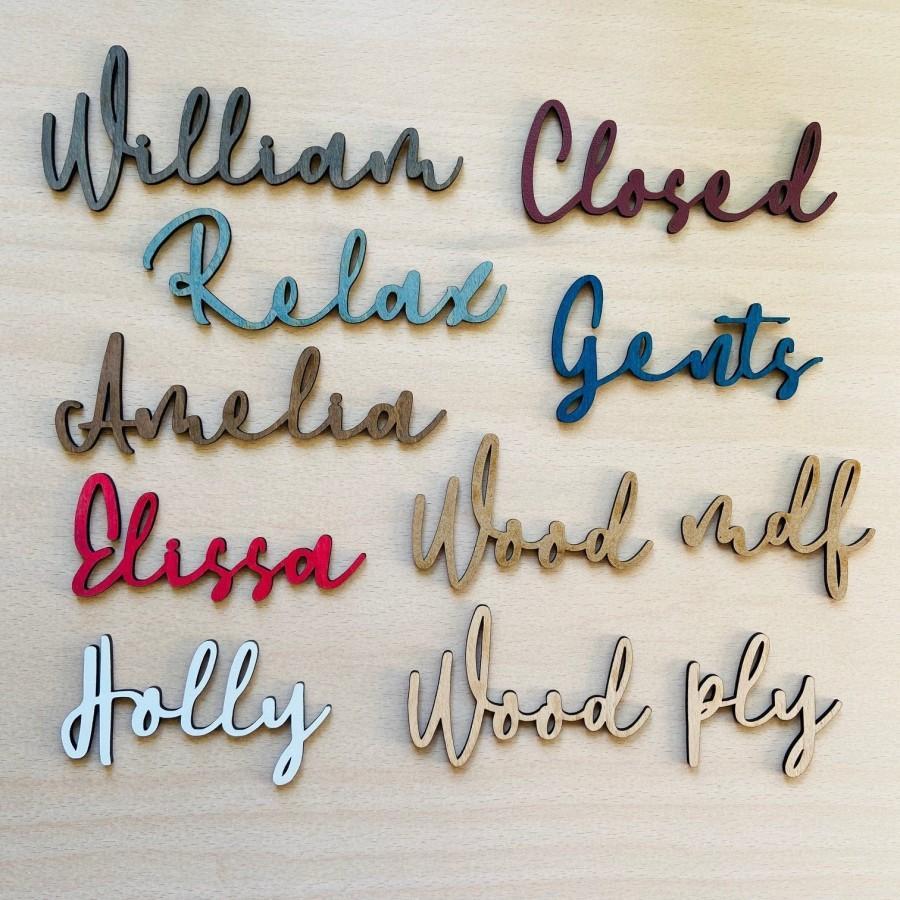 زفاف - Wooden Laser Cut Names - Painted or Plain - Wedding Place Settings Personalised - 40mm Tall Ply or MDF